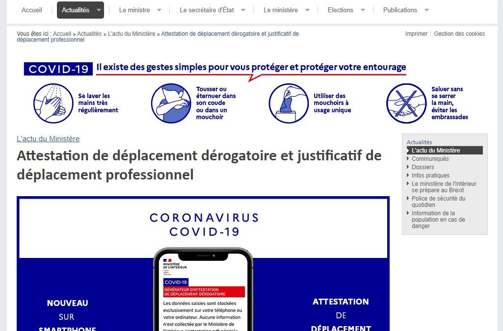 Covid-19 : L'attestation de déplacement dérogatoire est en ligne